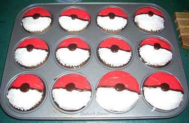 Pokeball Cupcakes by reeby10