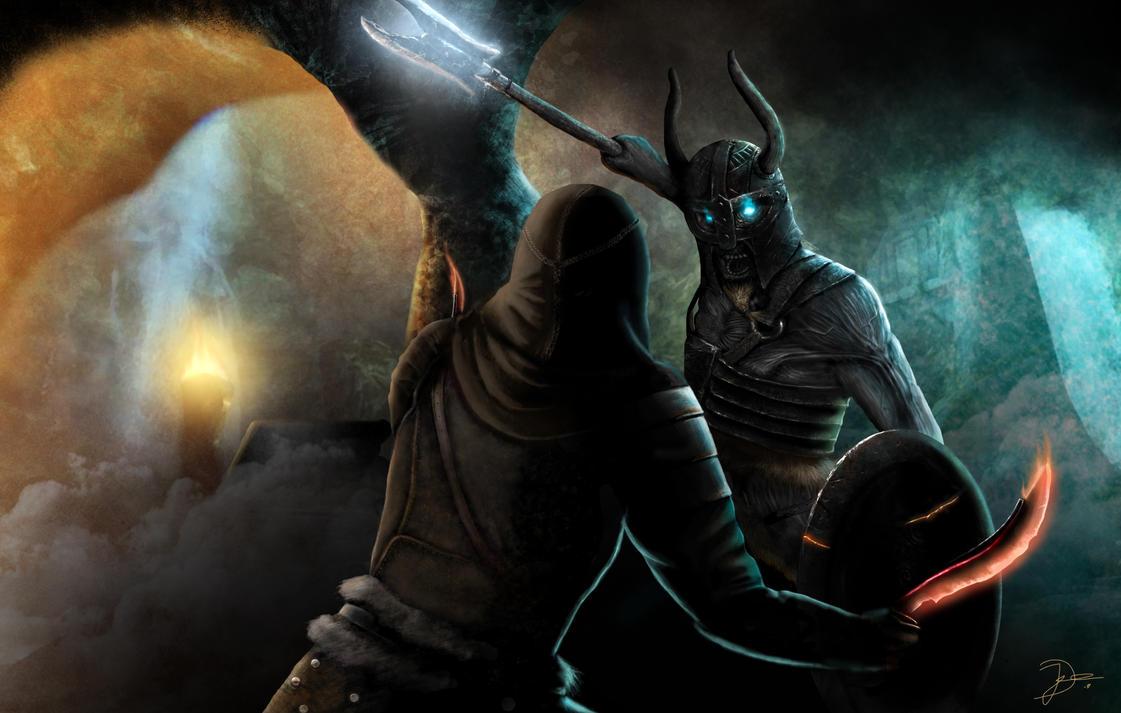 Thief vs Draugr Deathlord by aenamora