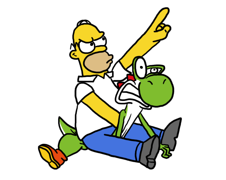 Homer Riding Yoshi by lnsert-creative-name