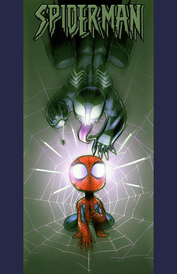Lil' Spidey and Baby Venom by JJKirby