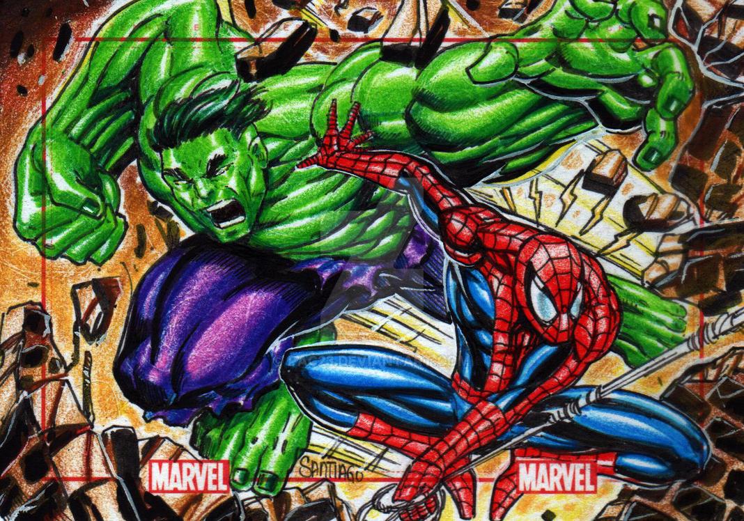 Hulk V Spidey 75th Anniversary Sketch Card by PAC23