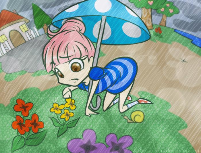 ACWW: gardening in the rain by suzanami