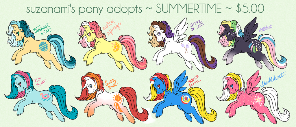 MLP Summertime Adopts! by suzanami