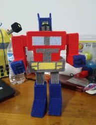 3D Plastic Canvas Optimus Prime by shozurei