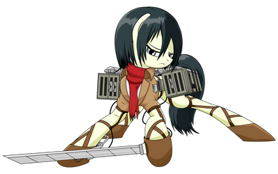 Attack on Equestria - Mikasa (WiP) by ParallaxMLP