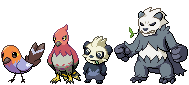 Fletchling, Talonflame, Pancham, and Pangoro by Quanyails