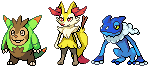 Quilladin, Braixen, and Frogadier