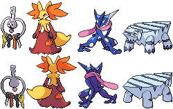 Klefki, Delphox, Greninja, and Avalugg