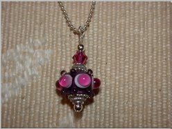 Hot Pink Lampwork Pendant by tiannei
