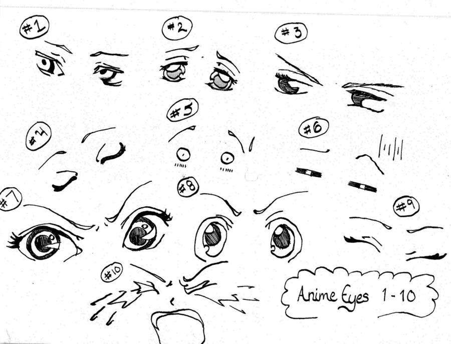 anime eyes reference male: AnimeManga Eyes Reference 1-10 By InLoveWithYaoi On DeviantArt