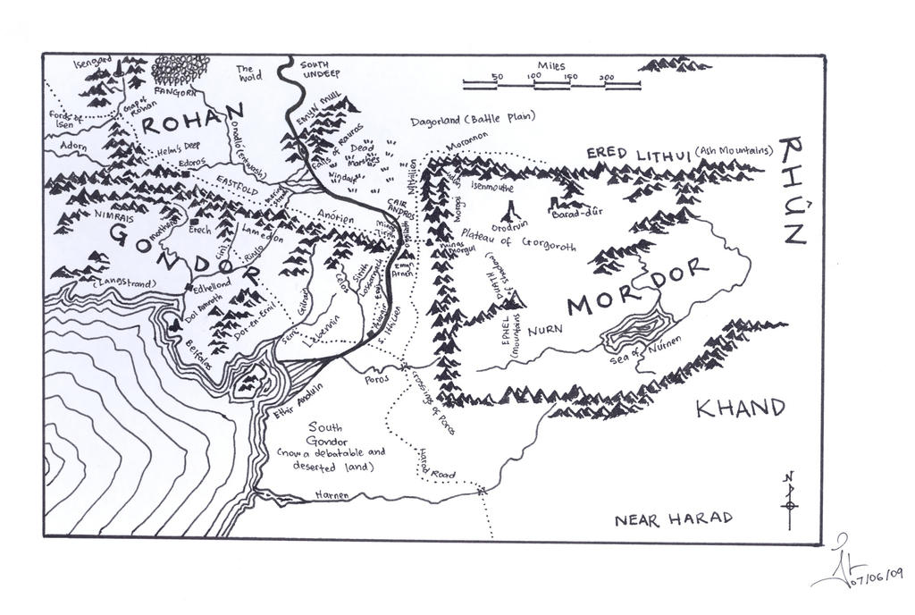 map of middle earth mordor by jlel