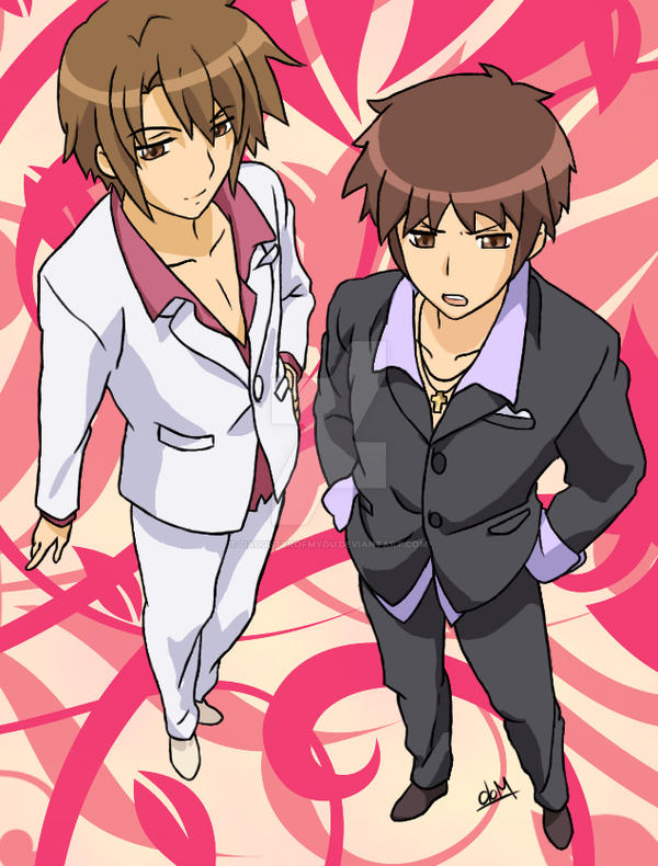 Your hosts  Kyon and Itsuki by daughter-of-MyouItsuki X Kyon