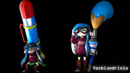 SFM - OSO Blue inkbrush posters by YoshiandBlinx