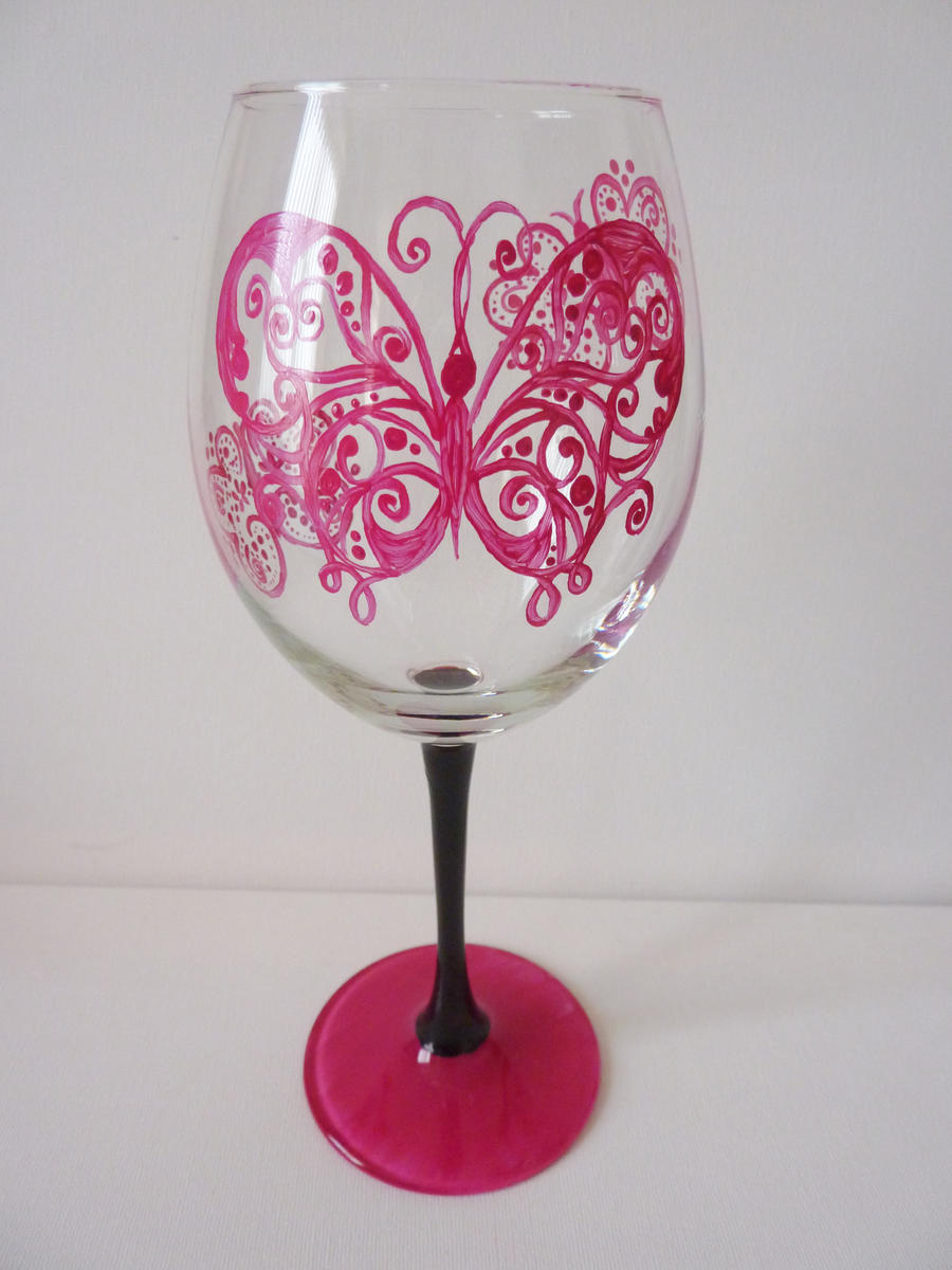 Butterfly painted wine glass by x0xaimeex0x on deviantart for How to make painted wine glasses