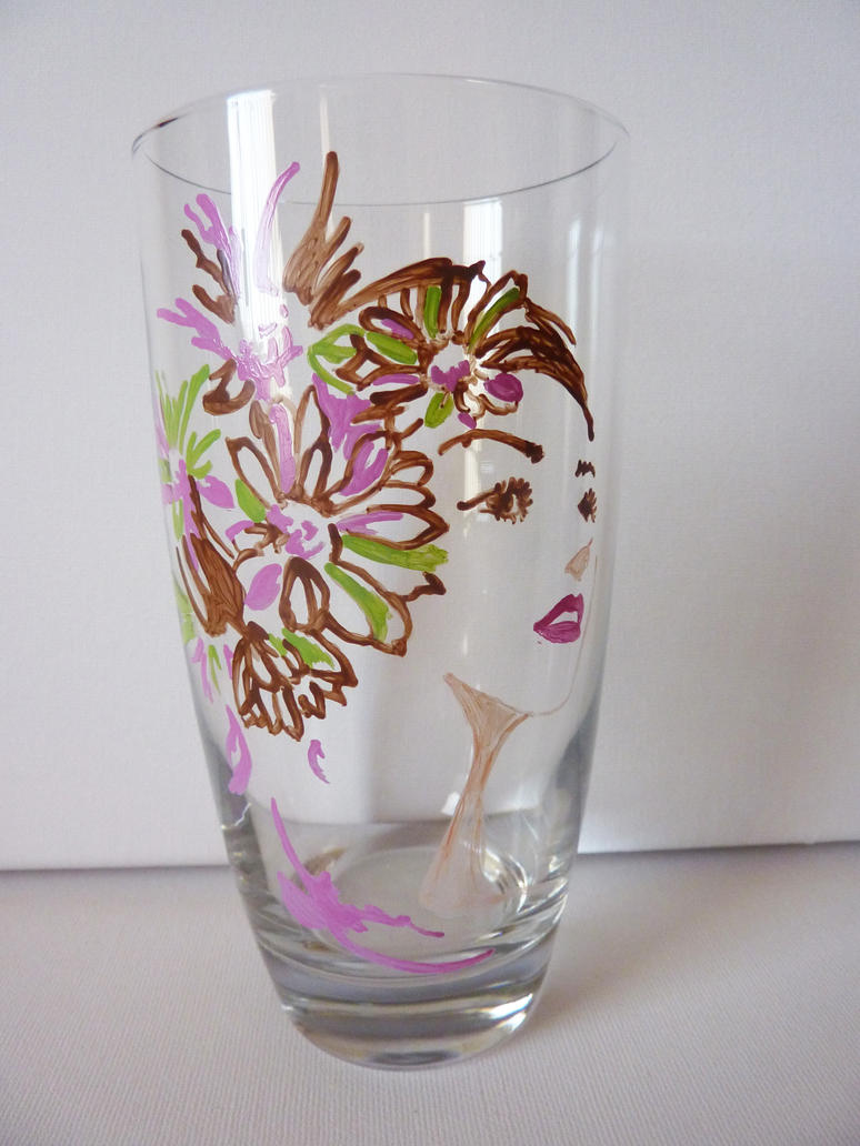 Flower girl hand painted glass by x0xaimeex0x on deviantart for Pictures painted on glass