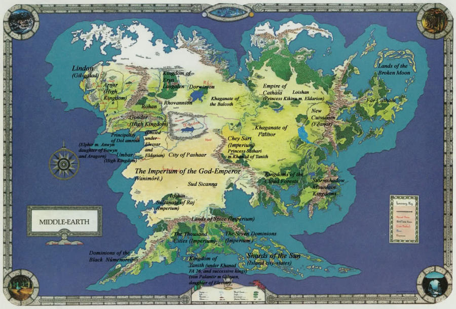 Did Maps In Middle Earth Have West: Middle-earth World Map By Spicedwinefanfic On DeviantArt