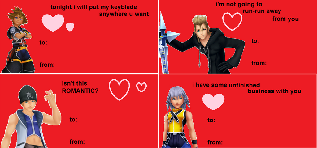 More Kingdom Hearts Valentine's Day Cards by mgmtea on DeviantArt