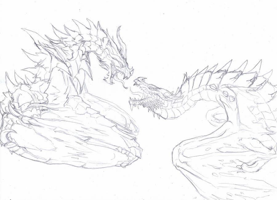 Alduin v Paarthurnax by rebelgirl1416