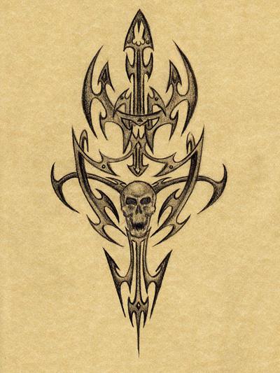 Skull tattoo by kristina323