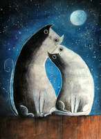 Cats and moon by kristina323
