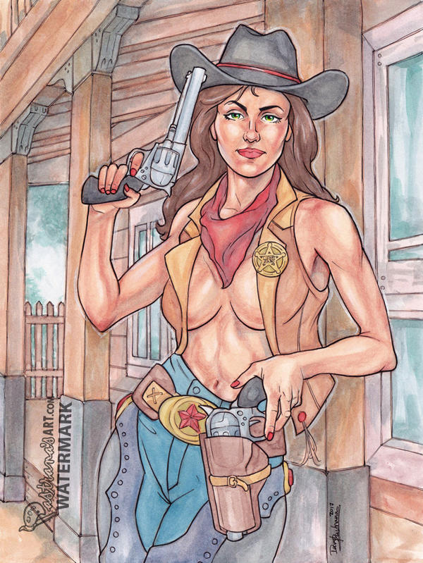 Girls and Gun pinup #5 - Colt 1873 Single Action by Pastranas-Art