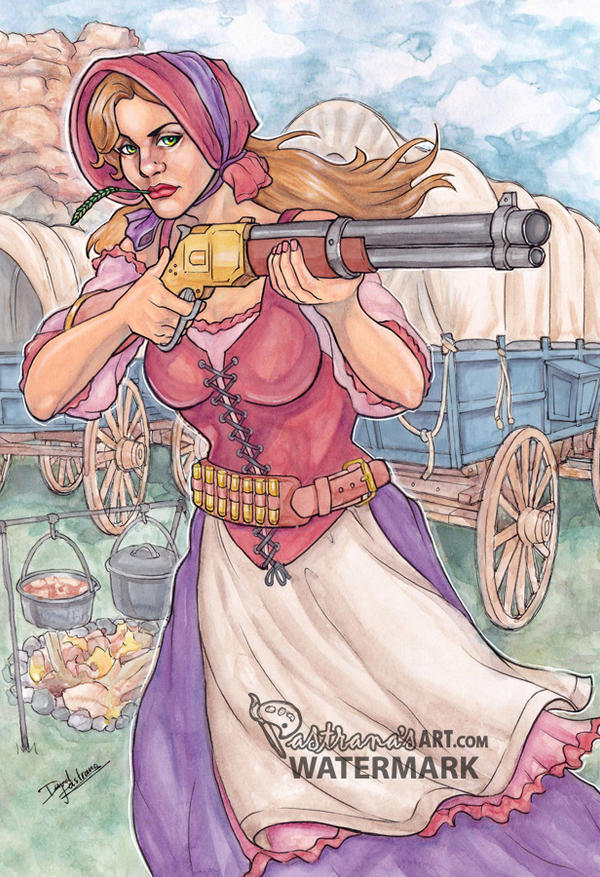 Gun Girl 2 Oregon trail westward expansion cowgirl by Pastranas-Art