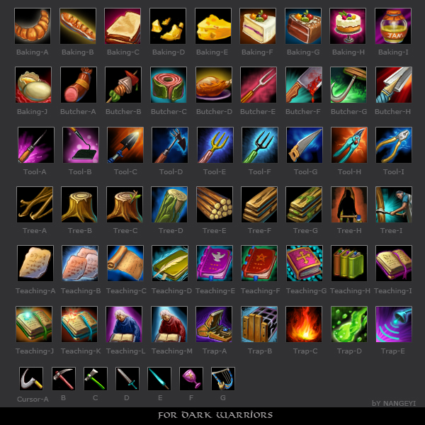 lots of icons for Dark Warrior by nangeyi
