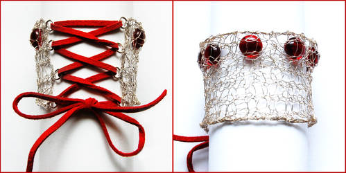 Red Corset Bracelet by OlgaC