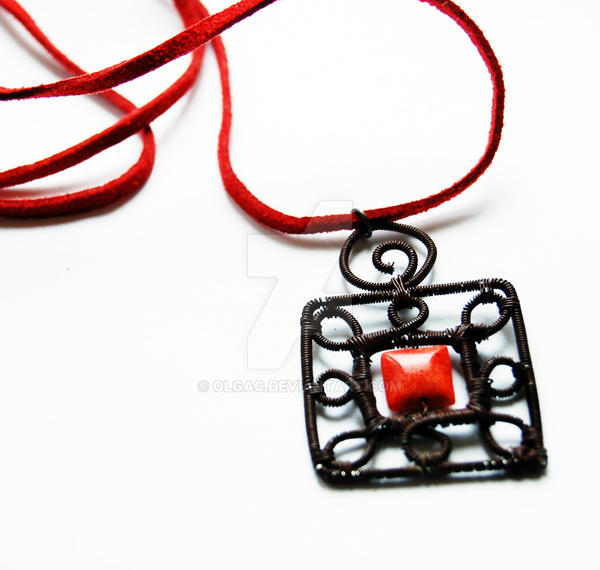 Coral square pendant by OlgaC