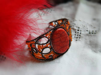Coral and glass bracelet by OlgaC