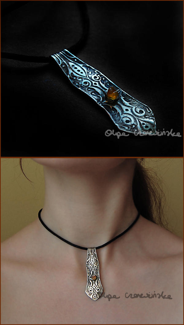 silver with amber for Irena by OlgaC