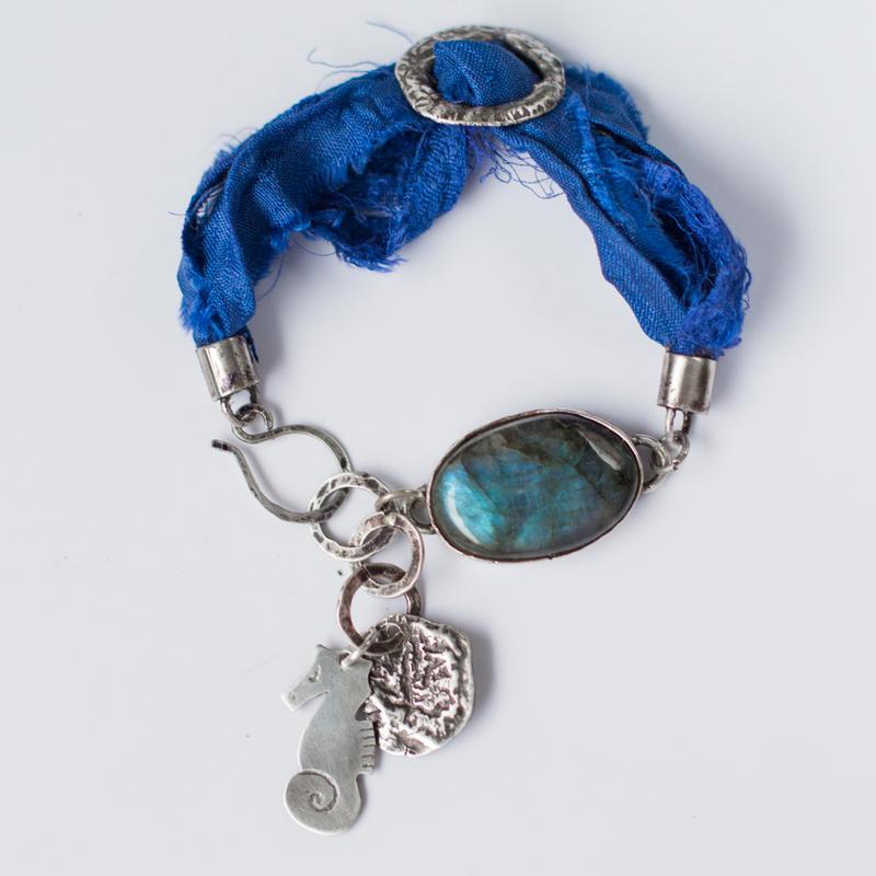 Silk and labradorite sea horse bracelet by OlgaC