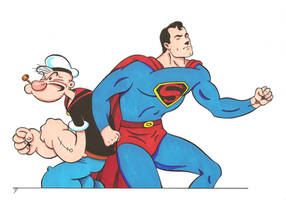 Popeye and Superman 2 by zombiegoon