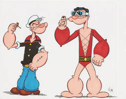 Popeye and Plastic Man by zombiegoon