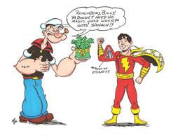 Popeye and Billy Batson by zombiegoon