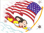 Mighty Mouse with Flag
