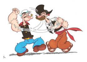 Popeye vs Patcheye color by zombiegoon