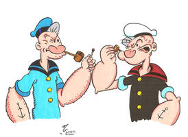 Two Ages of Popeye by zombiegoon