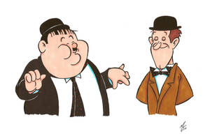 Laurel and Hardy by zombiegoon