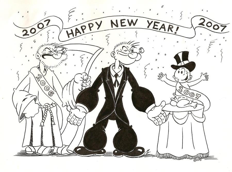 Popeye Calender January by zombiegoon
