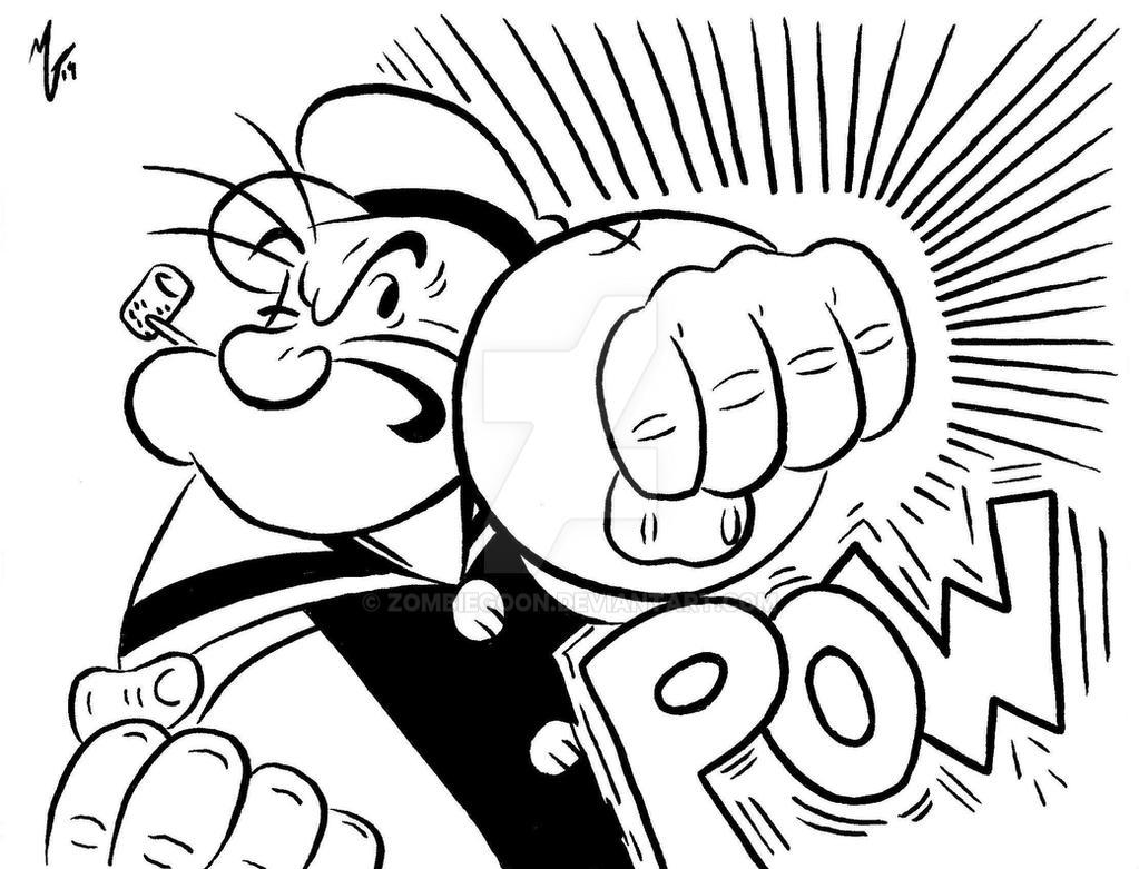 Popeye punch by zombiegoon