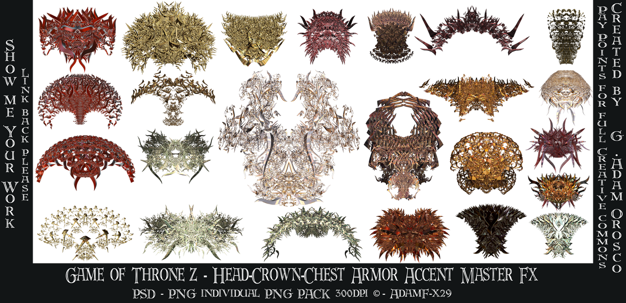 Game of Thronez - Head-Crown-Chest Armor Accent Fx by ArtwithoutabrushFx