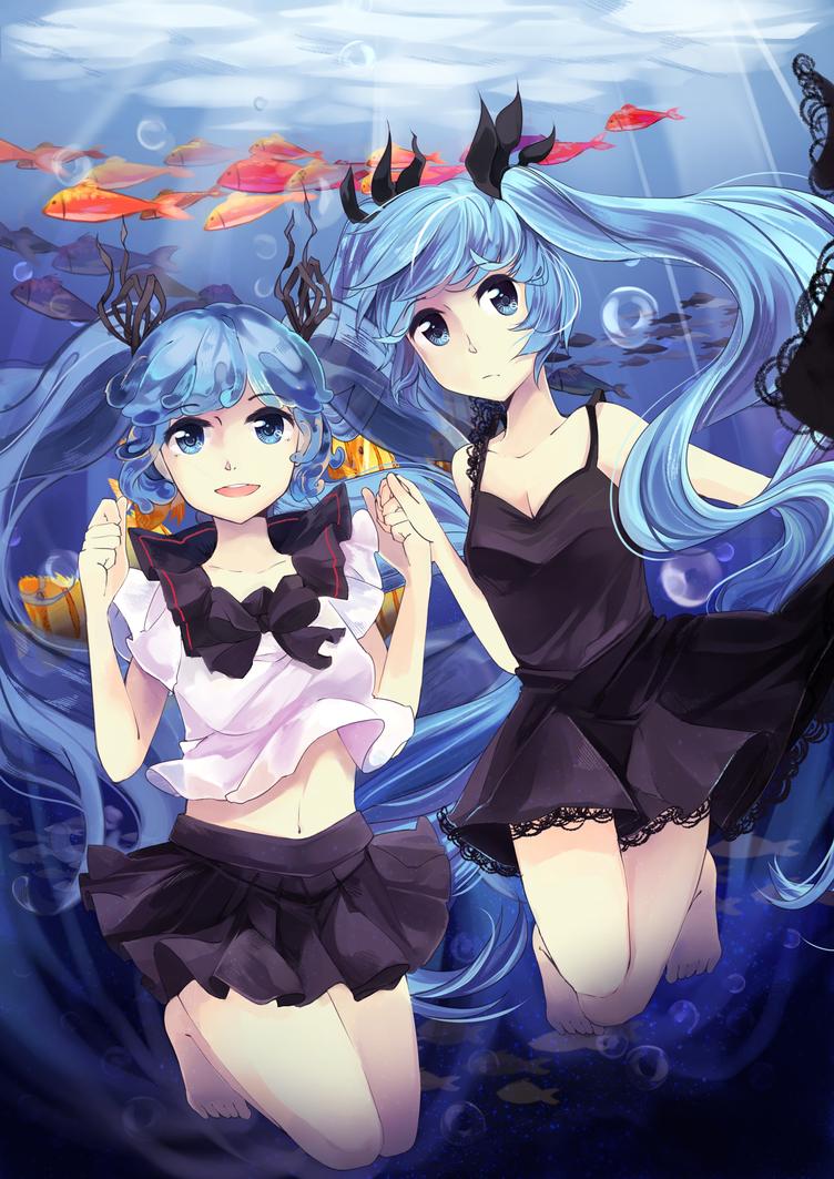 Bottle Miku and Shinkai Shoujo by Jadequest101