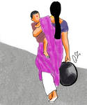 Working Woman Carrying Baby