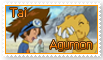 Tai and Agumon Stamp by funlakota
