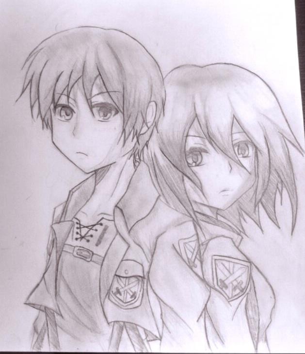 Shingeki no kyojineren and mikasa by the rumored one