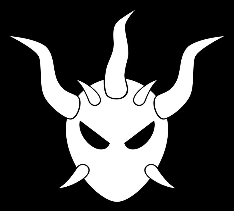 Silent Devil Skull (White on Black) by kallyous