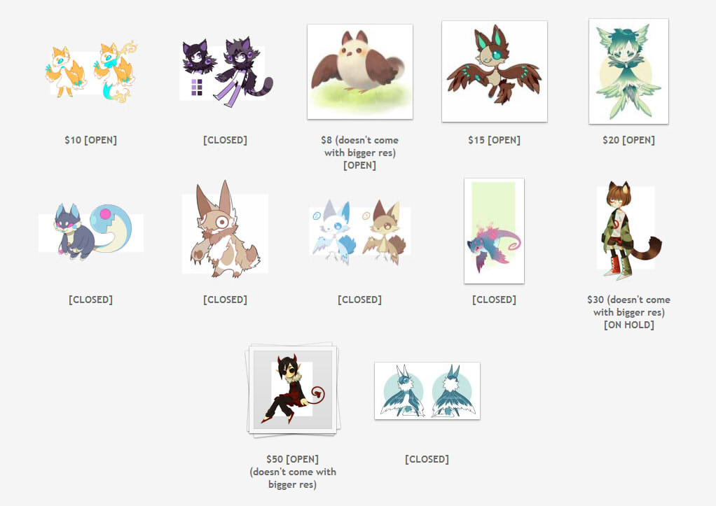 Leftover Adopts + some reduced prices! by MADoptables
