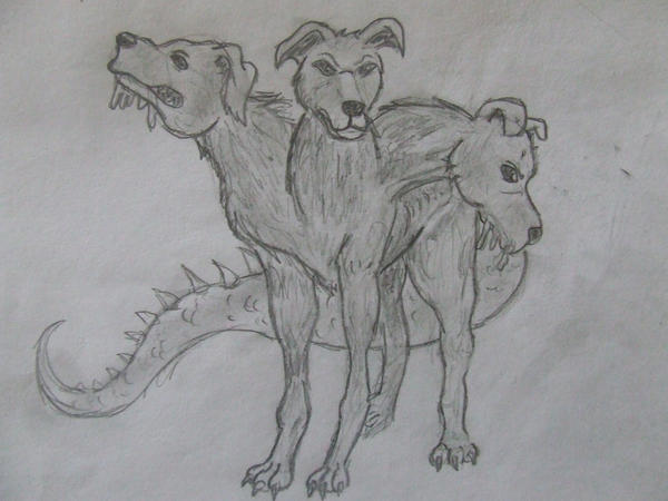 The three headed dog with tail by Dragon-Dame