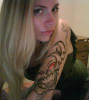 Smokey Skull SHARPIE Tattoo by Jennikatt